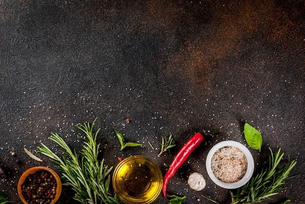 Fond de cuisine, herbes, sel, épices, huile d'olive