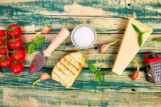 Fond de cuisine italienne. prêt pour la cuisine. cadre de nourriture