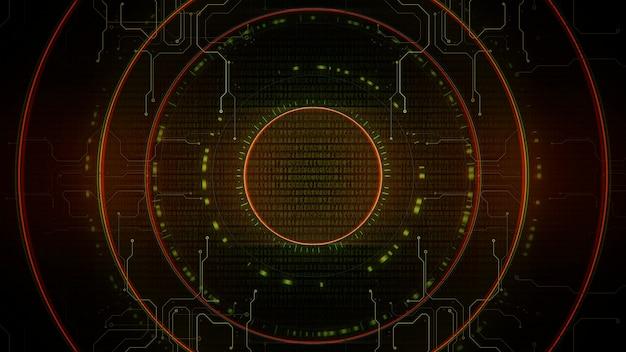 Fond de cyberpunk avec des cercles, des nombres et une grille d'ordinateur en spirale