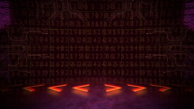 Fond cyberpunk avec matrice informatique, nombres et grille. style d'illustration 3d moderne et futuriste pour le thème cyberpunk et cinématographique
