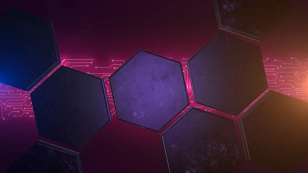 Fond cyberpunk avec puce informatique et grille hexagonale. style d'illustration 3d moderne et futuriste pour le thème cyberpunk et cinématographique