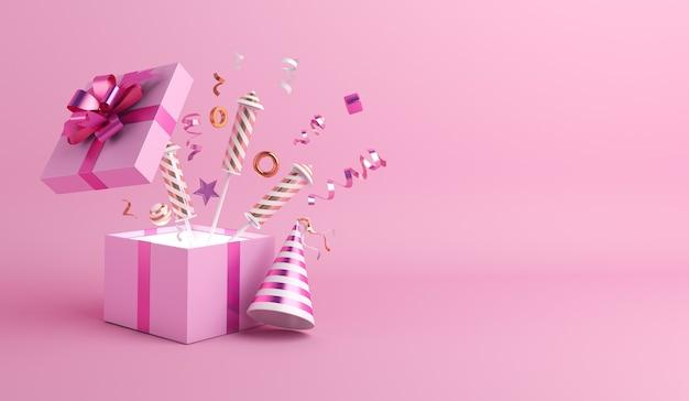 Fond de décoration de bonne année avec feu d'artifice de boîte-cadeau ouvert