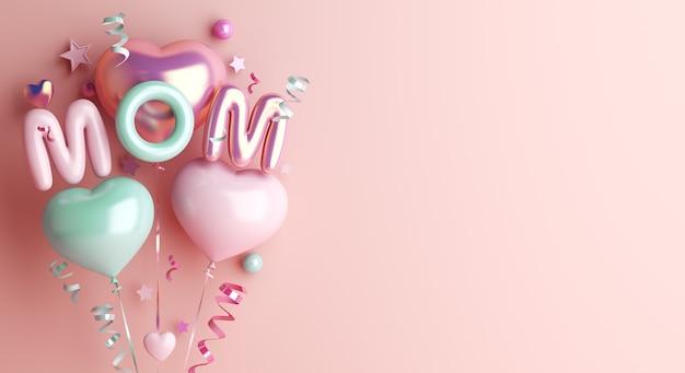 Fond de décoration de bonne fête des mères avec ballon en forme de coeur