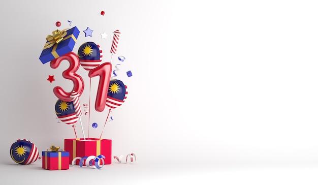 Fond de décoration de la fête de l'indépendance de la malaisie avec un feu d'artifice de 31 numéros de ballons