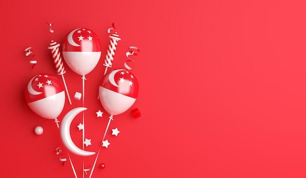 Fond de décoration de la fête de l'indépendance de singapour avec des étoiles en croissant de ballon