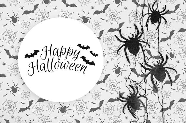 Fond de décoration halloween et concept effrayant avec des araignées