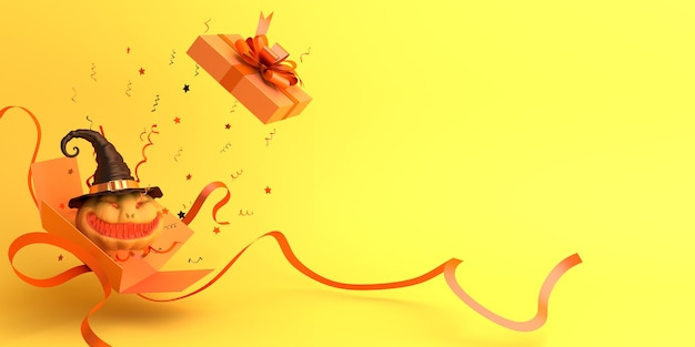 Fond de décoration halloween heureux avec boîte-cadeau ouverte et espace de copie de citrouille