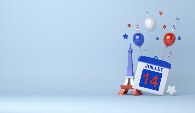 Fond de décoration happy bastille day avec ballon 14 date calendrier tour eiffel
