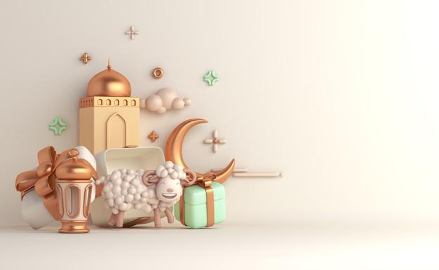 Fond de décoration islamique eid al adha avec croissant de lanterne arabe mouton chèvre
