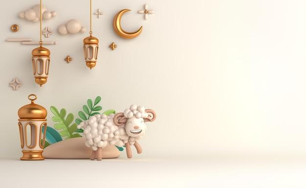 Fond de décoration islamique eid al adha avec lanterne arabe en croissant de mouton
