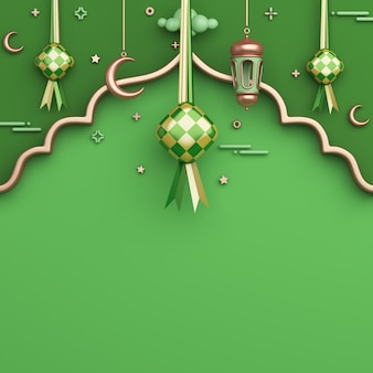 Fond de décoration islamique avec espace de copie de croissant de lanterne arabe ketupat