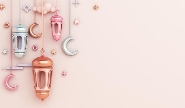 Fond de décoration islamique avec espace de copie de croissant de lanterne arabe