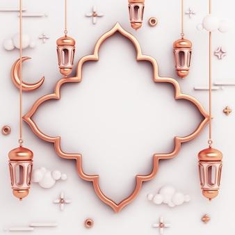 Fond de décoration islamique avec espace de copie de croissant de lanterne de cadre de fenêtre arabe