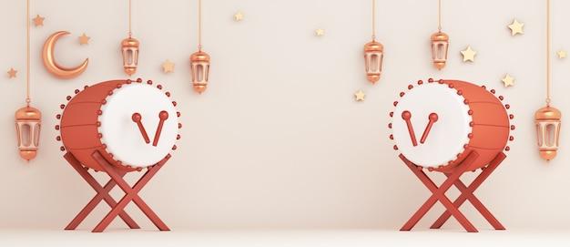 Fond de décoration islamique avec espace de copie de croissant de lanterne tambour bedug