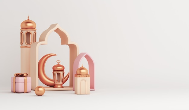 Fond de décoration islamique avec lanterne croissant de mosquée boîte-cadeau copie espace