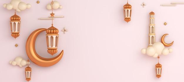 Fond de décoration islamique avec lanterne croissant ramadan kareem eid muharram