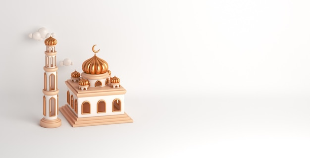 Fond de décoration islamique avec mosquée ramadan kareem eid muharram