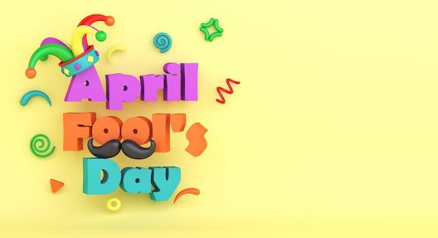 Fond de décoration de jour de poisson d'avril avec chapeau de bouffon
