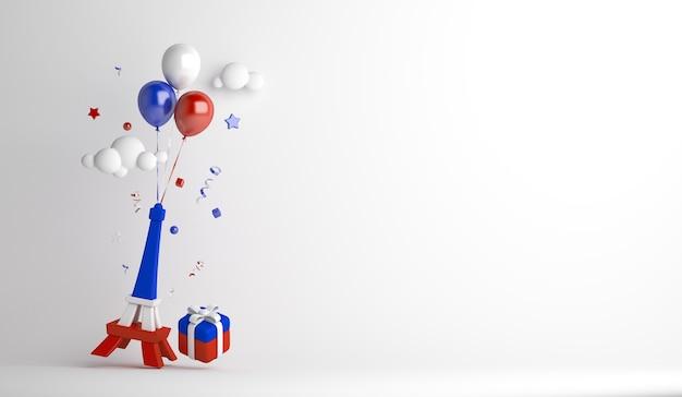 Fond de décoration joyeux jour de la bastille avec coffret cadeau ballon tour eiffel