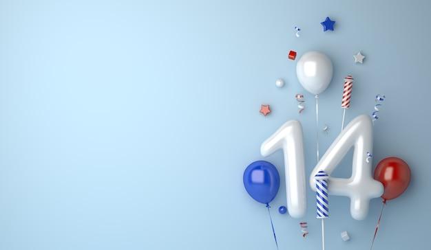 Fond de décoration joyeux jour de la bastille avec numéro de ballon 14