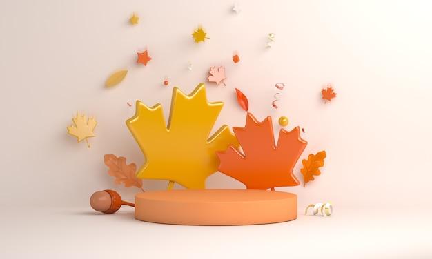 Fond de décoration de podium d'affichage d'automne avec le gland de feuilles de chêne d'érable