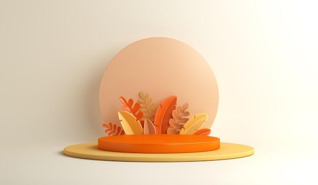 Fond de décoration de podium d'automne avec des feuilles d'oranger