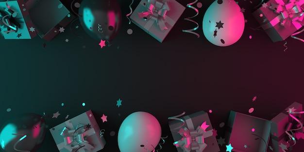 Fond de décoration de vente vendredi noir avec ballon de boîte-cadeau, espace copie