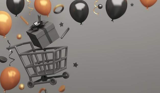 Fond de décoration de vente vendredi noir avec boîte-cadeau de chariot à provisions ballon d'or, espace copie