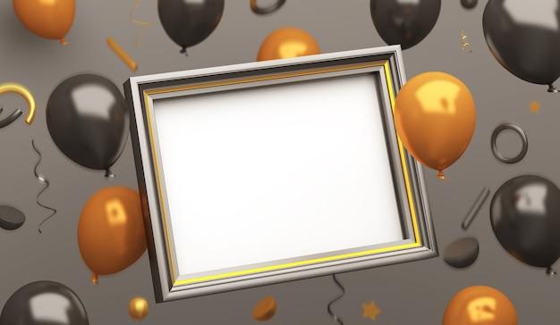 Fond de décoration de vente vendredi noir avec cadre vierge de maquette et ballon volant en or