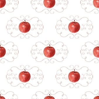 Fond de dessin à l'aquarelle pommes, feuilles et cadre