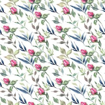 Fond dessiné main aquarelle floral avec motif sans soudure de fleurs et de pétales