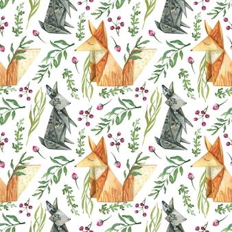 Fond dessiné à partir d'éléments de baies fleurs herbes animaux origami renard orange lièvre gris