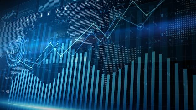 Fond de diagramme d'investissement financier de données numériques de rendu 3d bleu