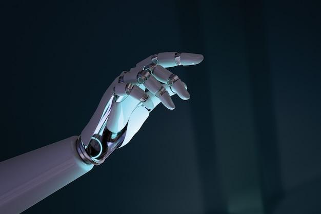 Fond de doigt de main de robot, technologie d'ia