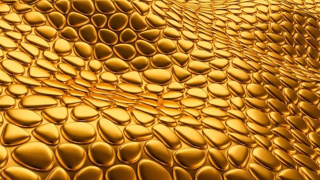 Fond doré de luxe avec texture de cuir. illustration 3d, rendu 3d.