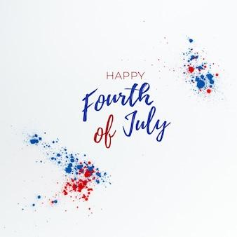 Fond du 4 juillet avec lettrage et feux d'artifice faits avec des touches de couleur holi