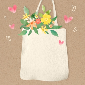 Fond écologique avec des fleurs dans l'illustration du sac fourre-tout