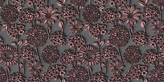 Fond d'écran 3d de fond de fleur seamless pattern3d illustration