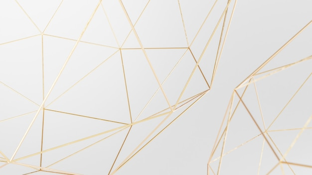 Fond d'écran abstrait géométrique angulaire blanc et or rendu 3d