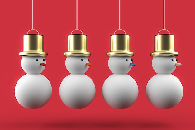 Fond d'écran de carte postale de noël 3d avec quatre bonhomme de neige. concept de noël joyeux.