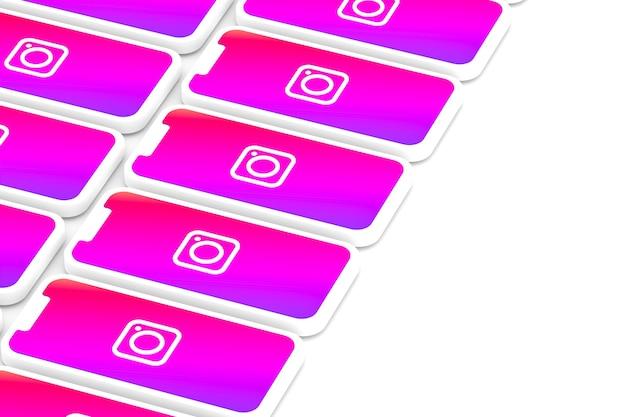 Fond d'écran du logo instagram sur smartphone ou rendu 3d mobile