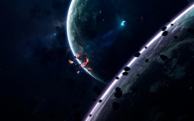 Fond d'écran de l'espace de science-fiction, planètes incroyablement belles, galaxies, beauté sombre et froide de l'univers sans fin.