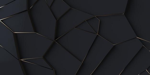 Fond d'écran géométrique moderne fond noir et or illustration 3d