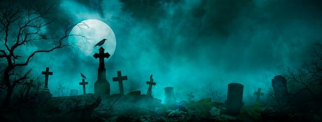 Fond d'écran halloween avec cimetière la nuit
