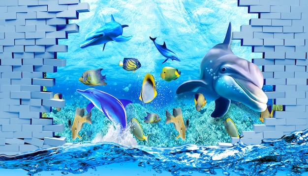 Fond d'écran d'illustration 3d sous le dauphin de mer poisson tortue eau de sable de récif de corail avec mur cassé