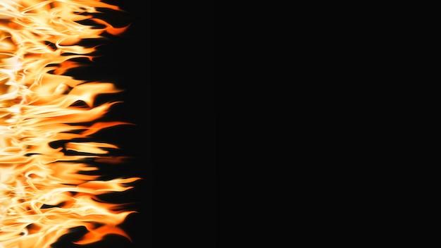 Fond d'écran d'ordinateur abstrait, frontière de feu sur fond noir