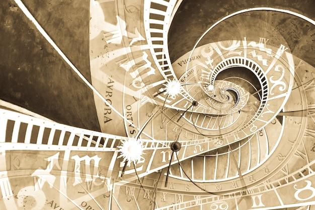 Fond d'effet droste basé sur l'horloge astronomique de prague. conception abstraite pour les concepts liés à l'astrologie, à la fantaisie, au temps et à la magie.