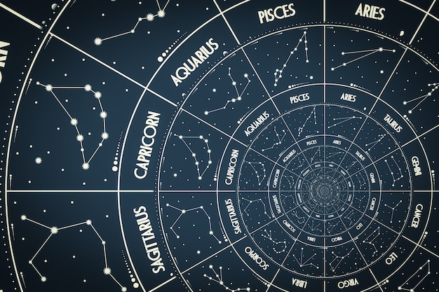 Fond d'effet droste. conception abstraite pour les concepts liés à l'astrologie, à la fantaisie, au temps et à la magie.