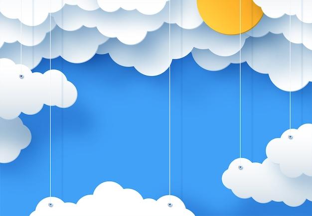 Fond enfantin de dessin animé avec des nuages