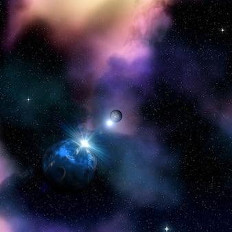 Fond d'espace 3d avec le soleil se levant derrière une planète fictive